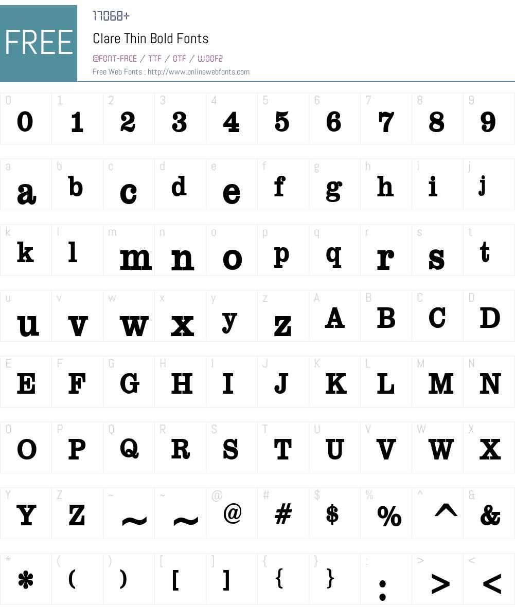 Clare Thin Font Screenshots