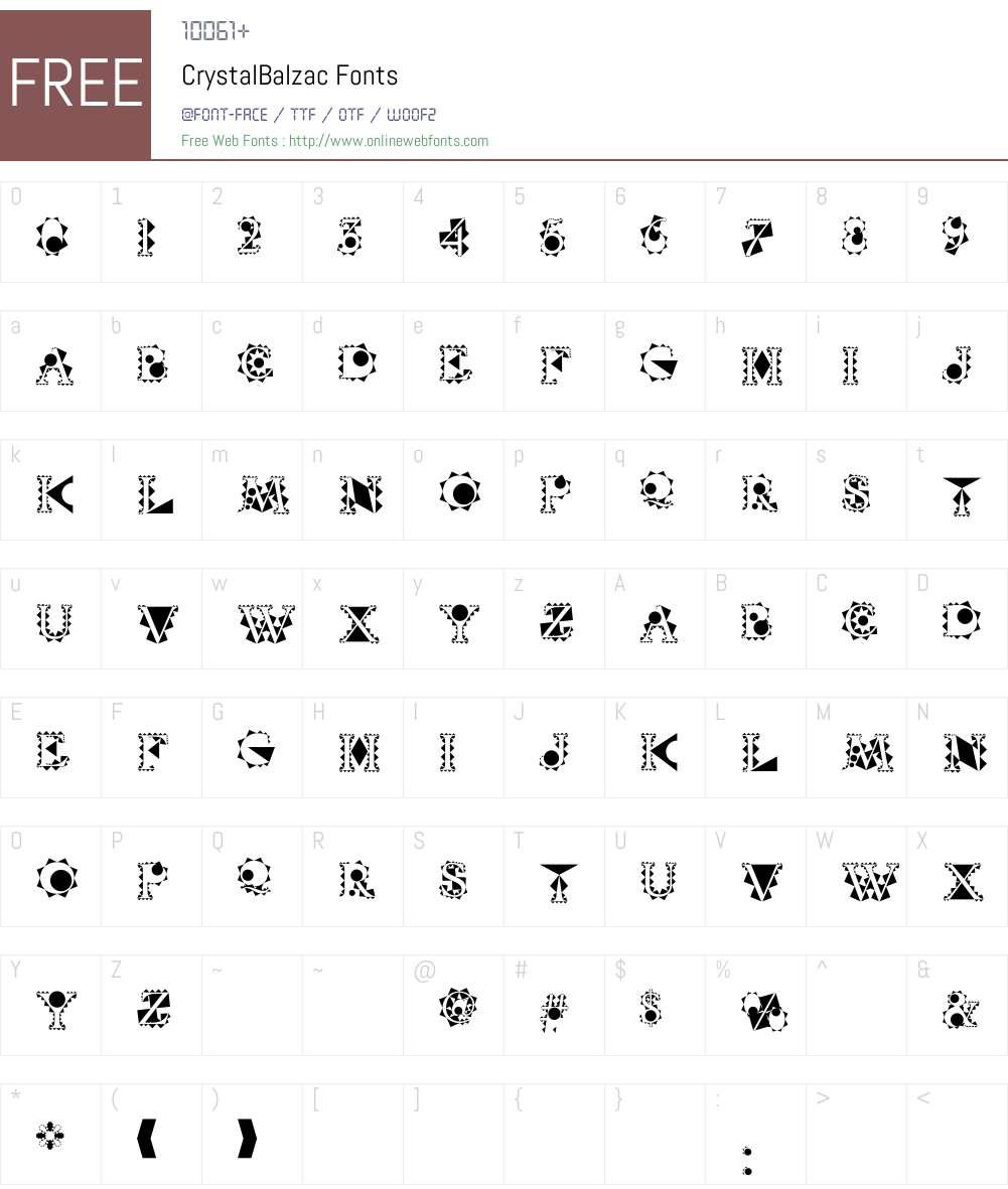 CrystalBalzac Font Screenshots