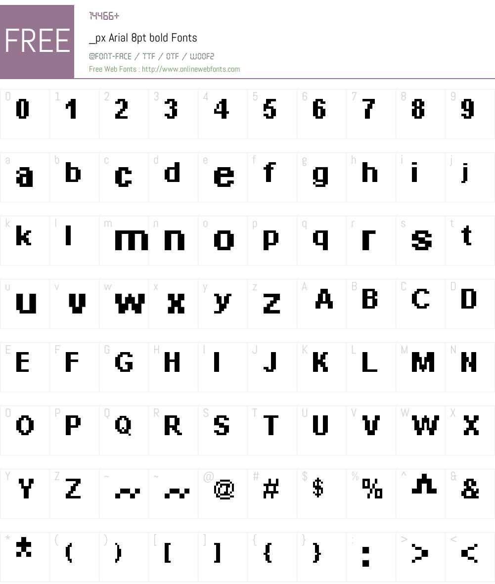 _px Arial 8pt bold Font Screenshots