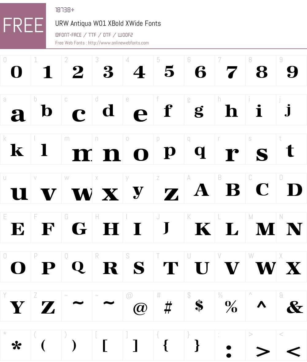 URWAntiquaW01-XBoldXWide Font Screenshots
