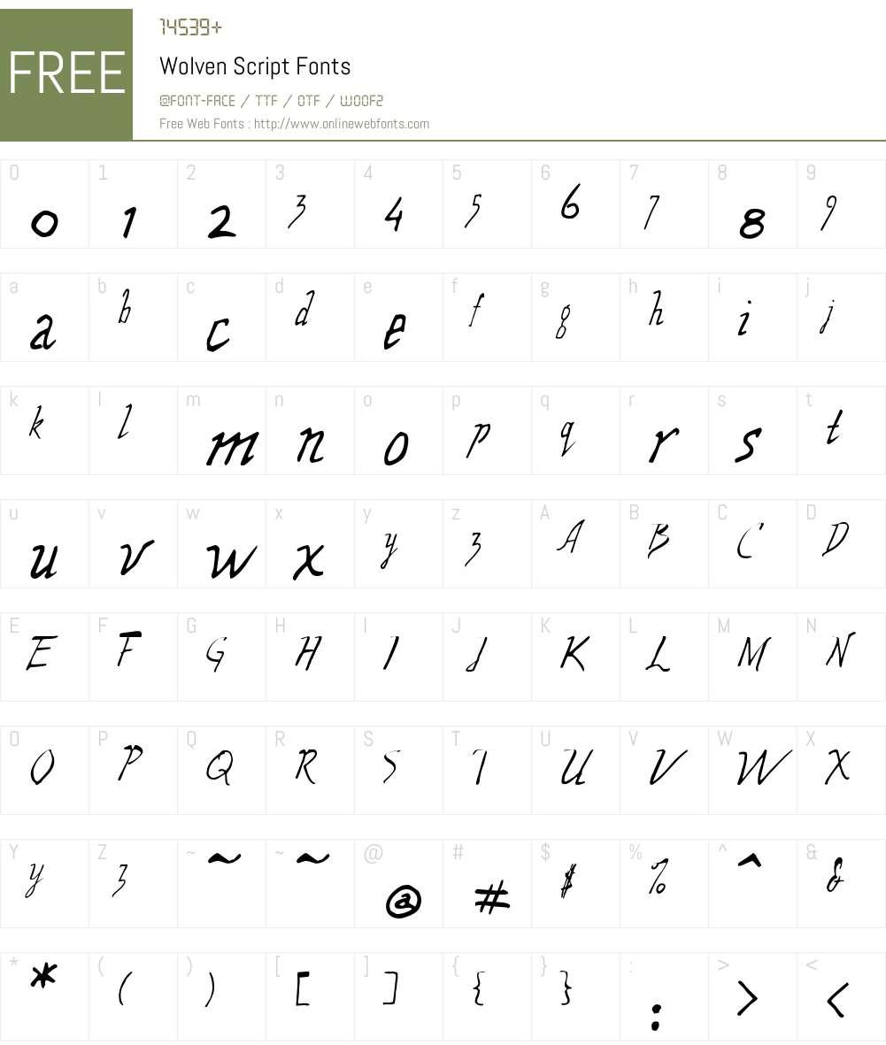Wolven Script Font Screenshots