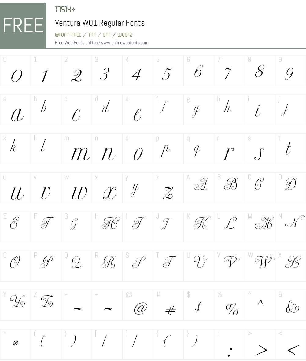VenturaW01-Regular Font Screenshots