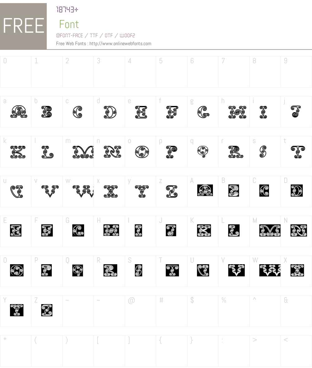 TribalSpiralBAW90-Regular Font Screenshots