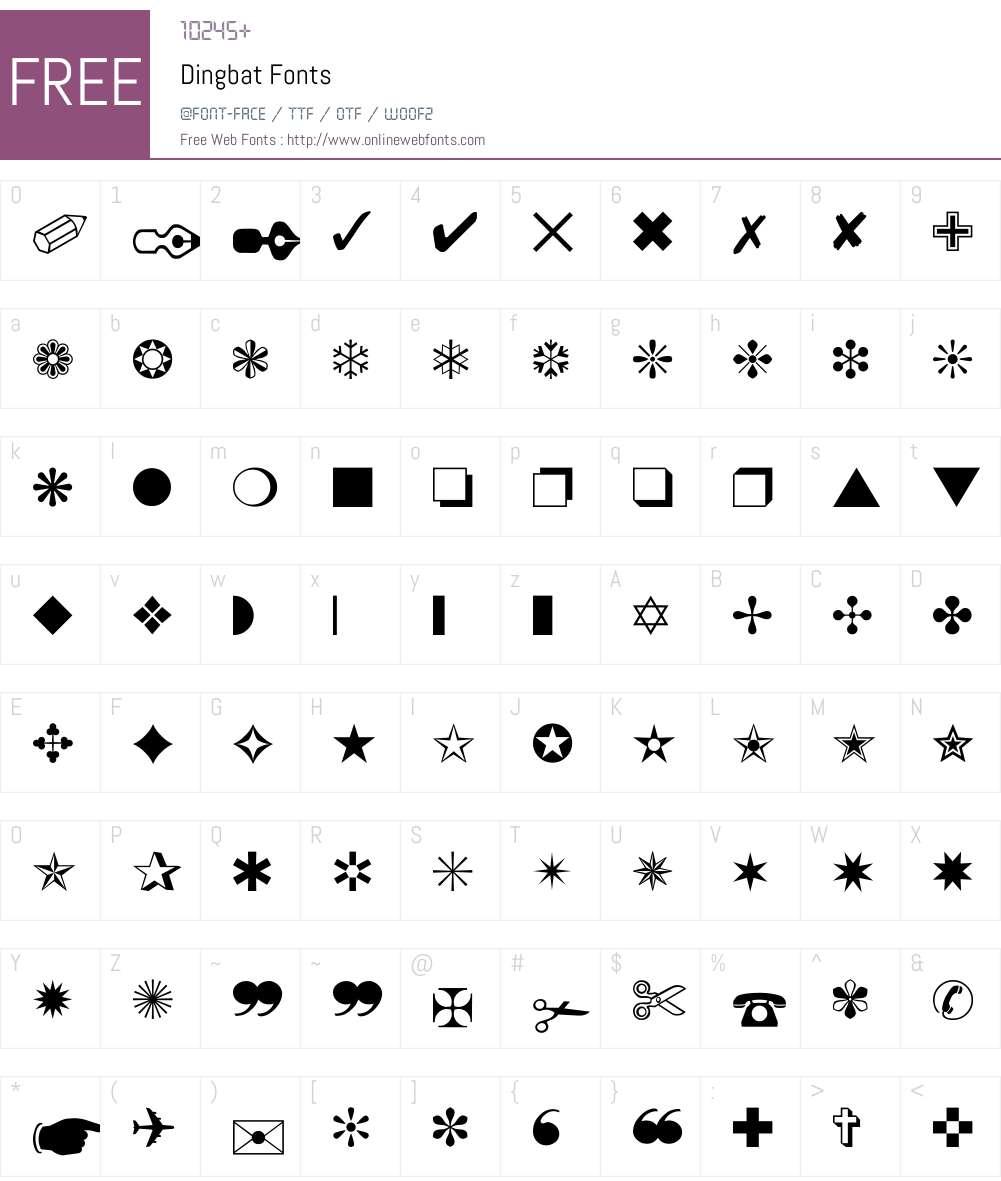 Dingbat Font Screenshots