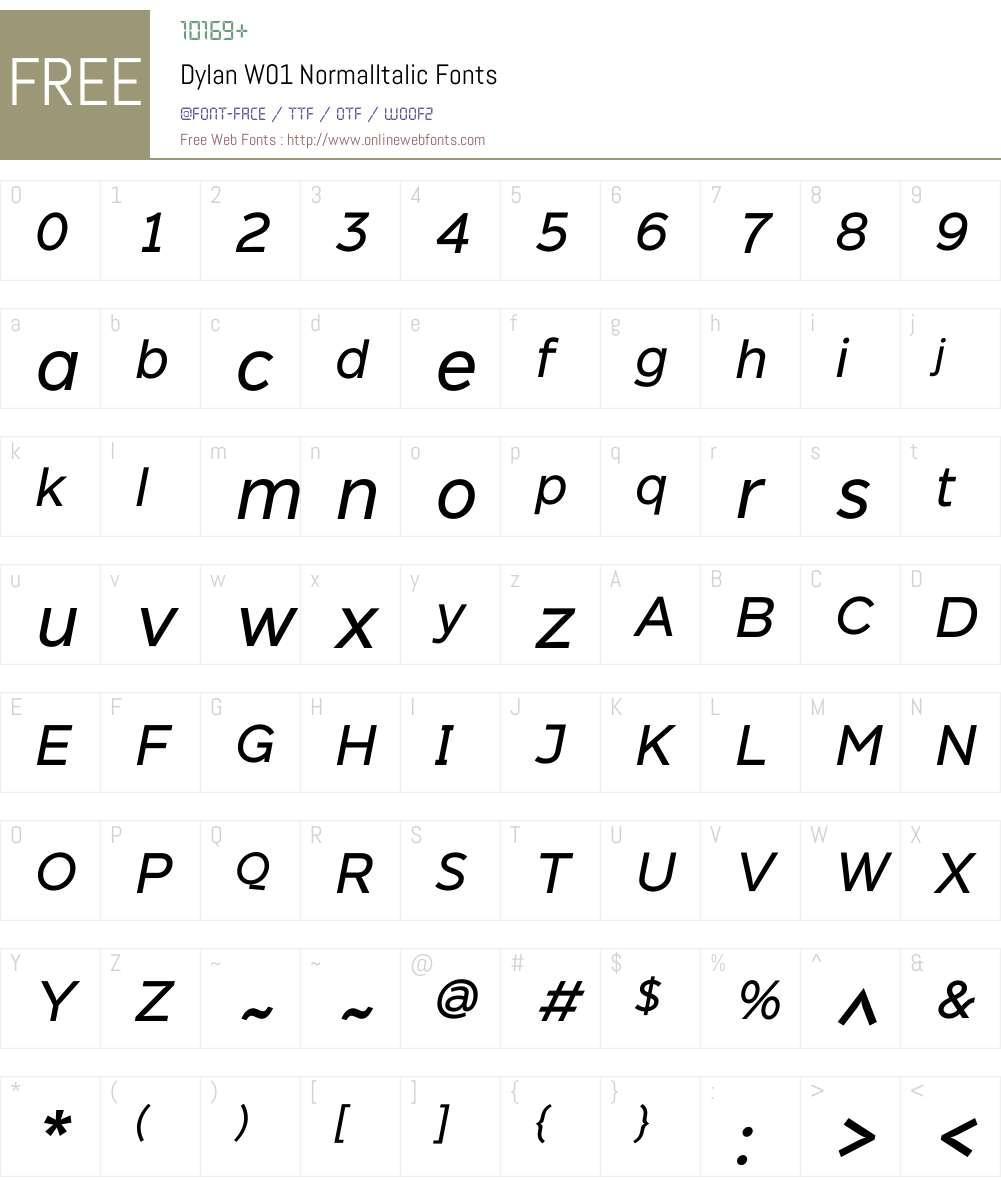 DylanW01-NormalItalic Font Screenshots