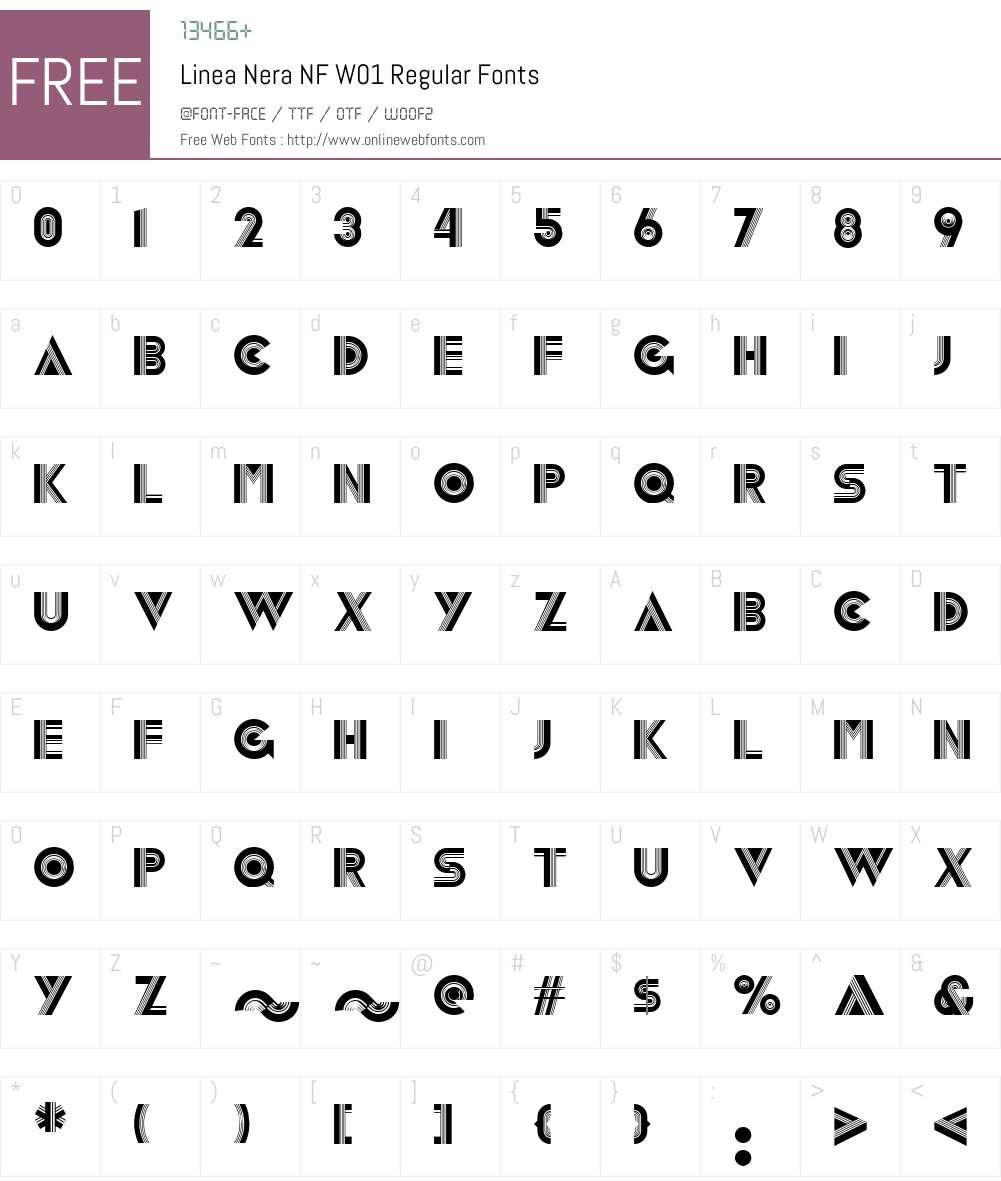 LineaNeraNFW01-Regular Font Screenshots