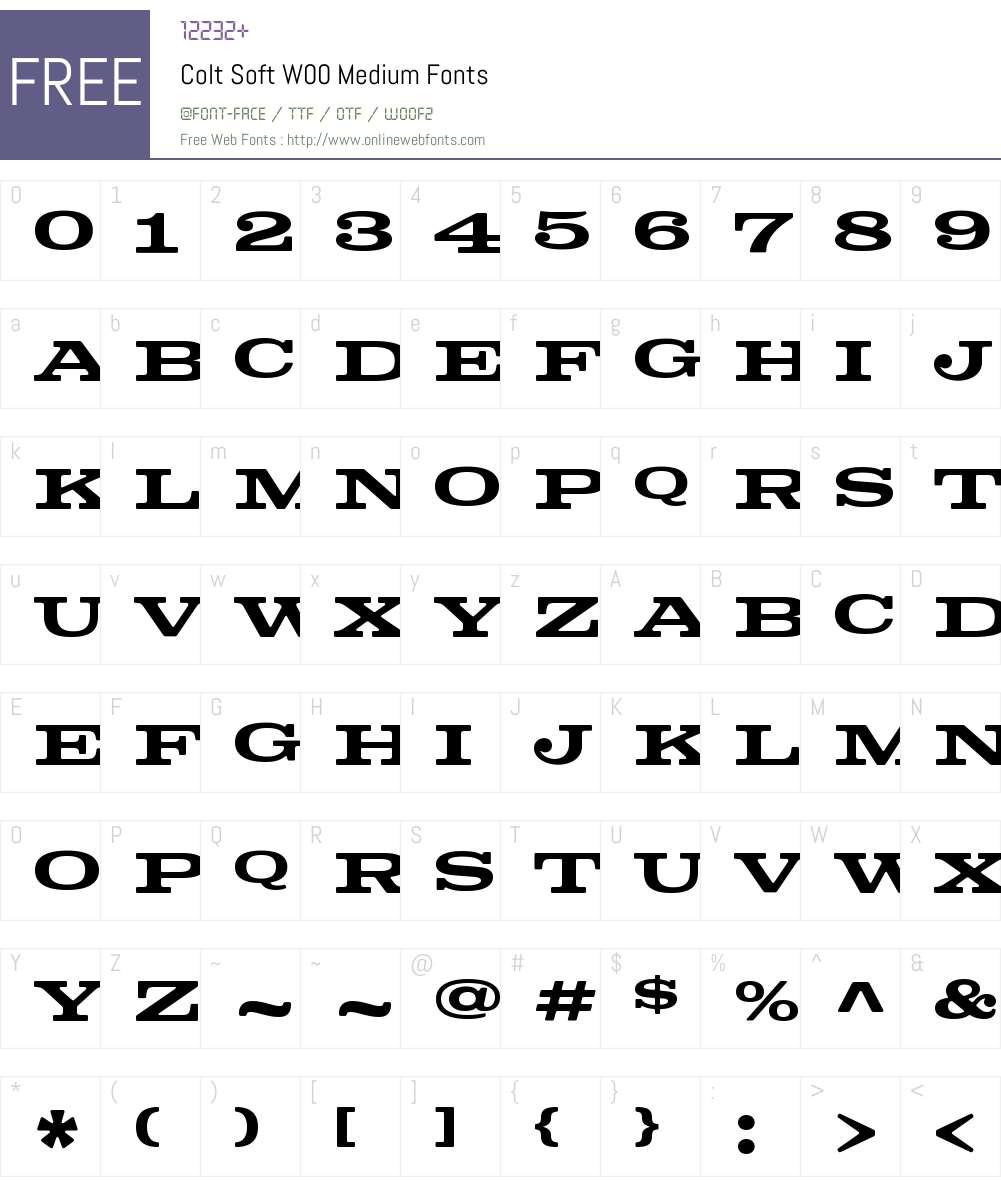 ColtSoftW00-Medium Font Screenshots