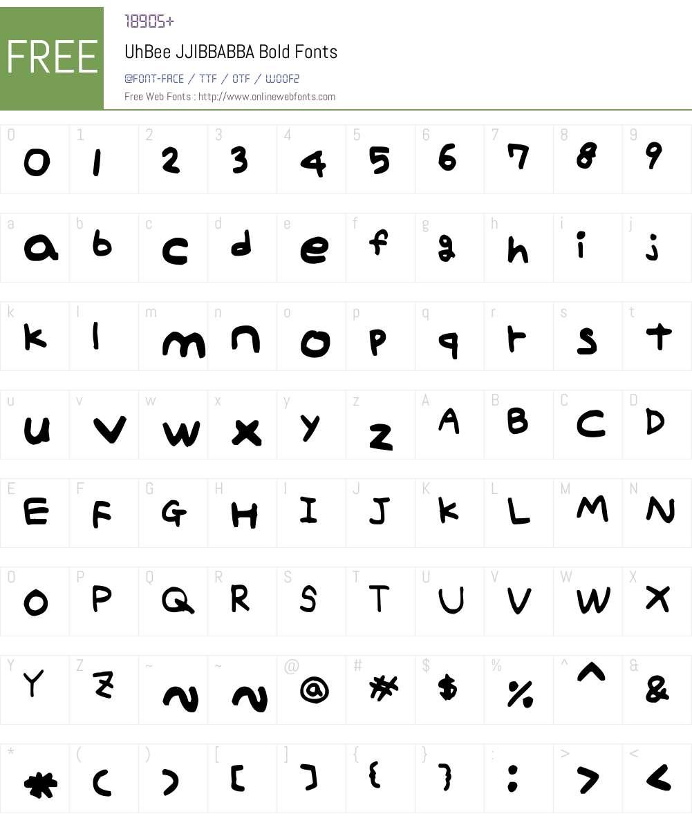 UhBee JJIBBABBA Font Screenshots