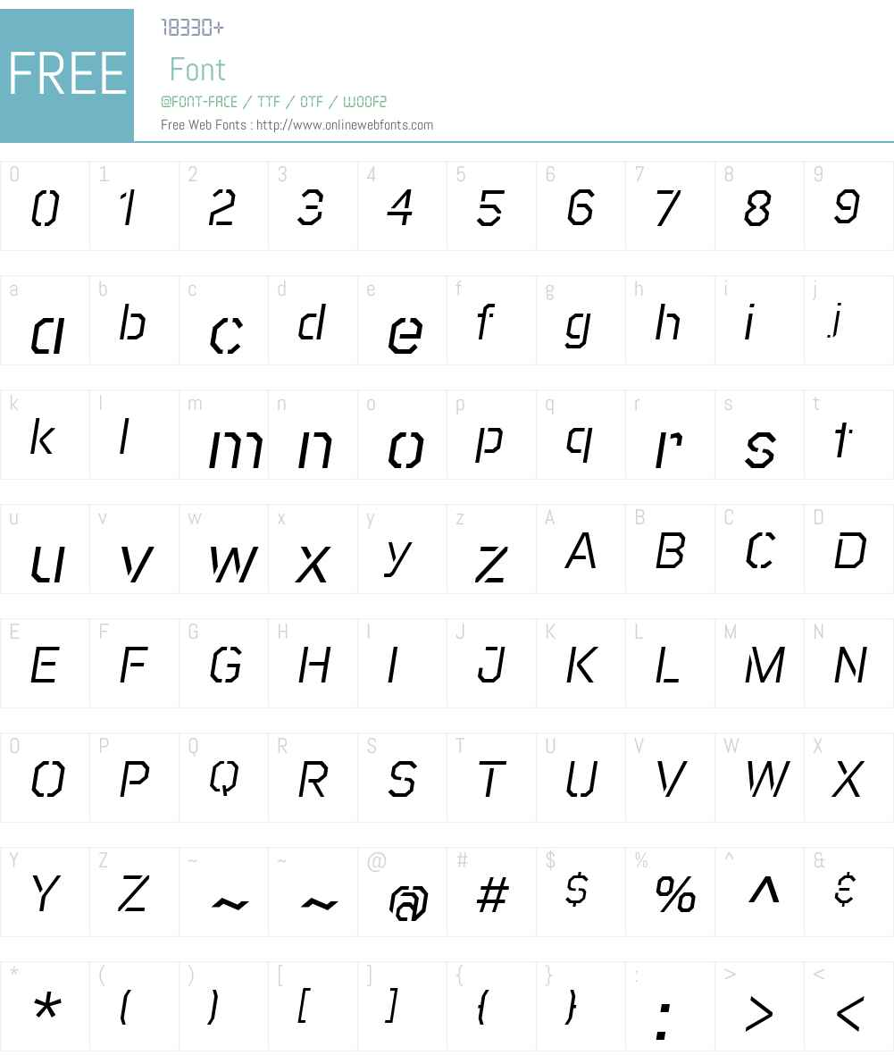RakerStencil-Italic Font Screenshots