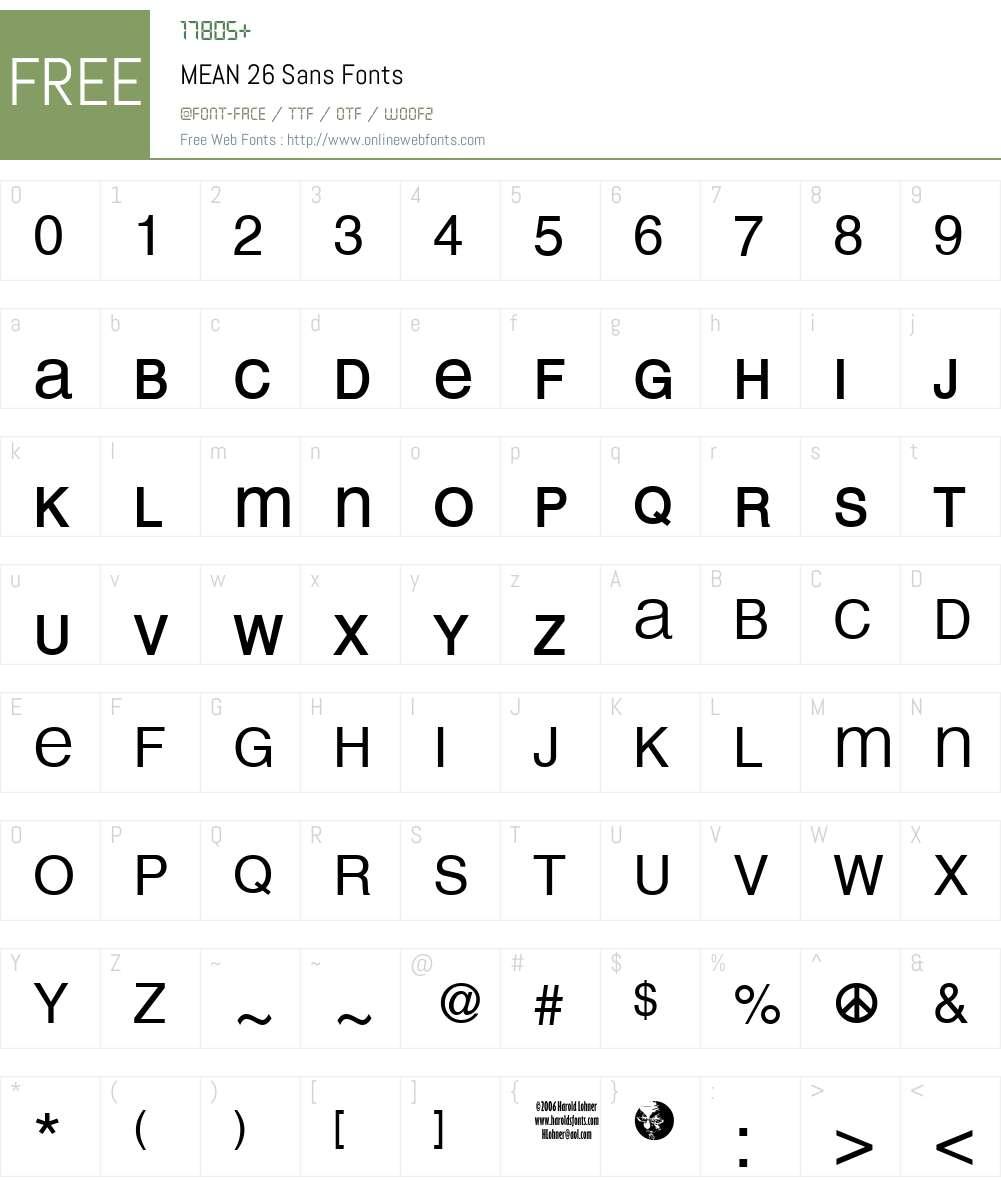 MEAN 26 Sans Font Screenshots