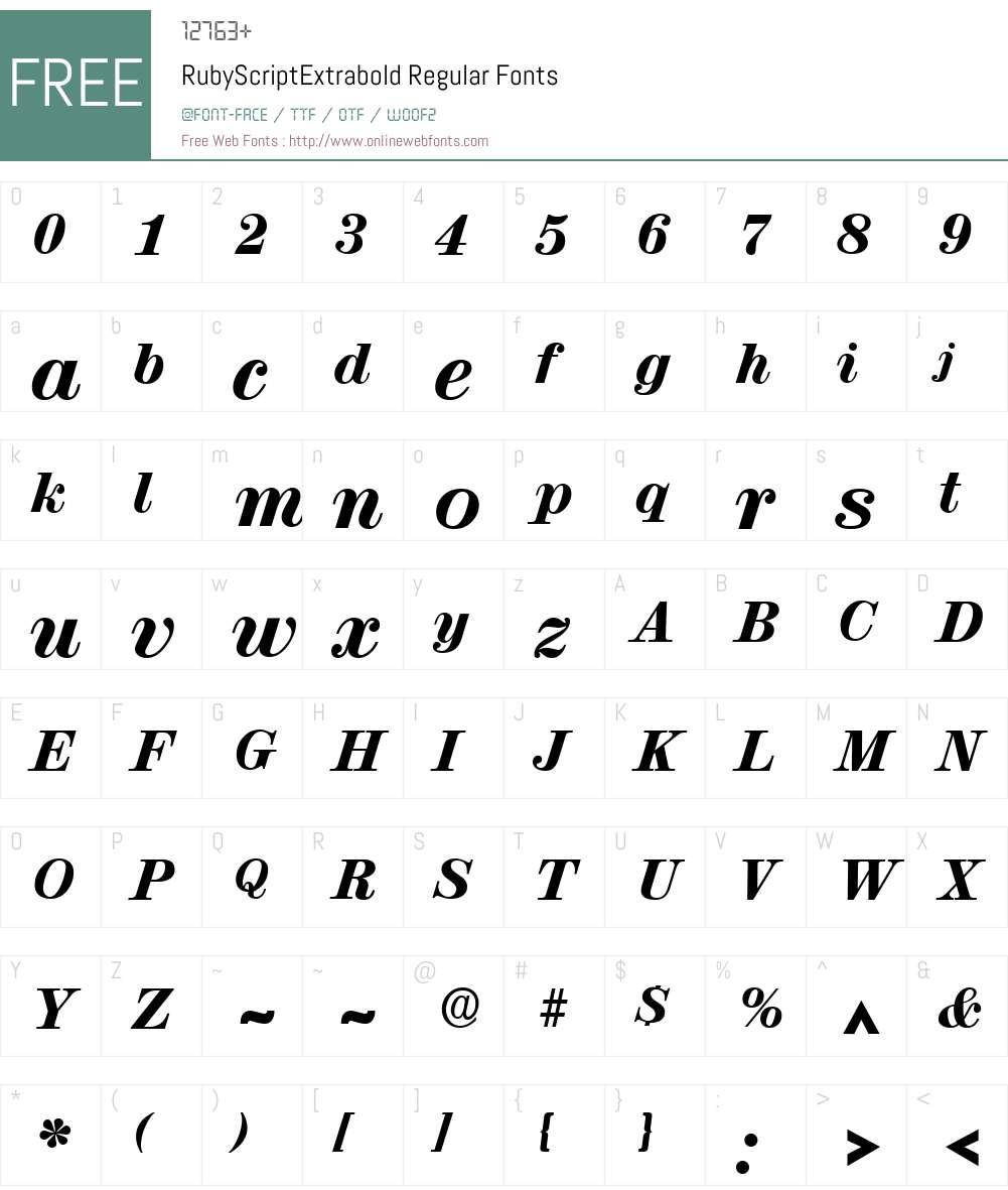 RubyScriptExtrabold Font Screenshots