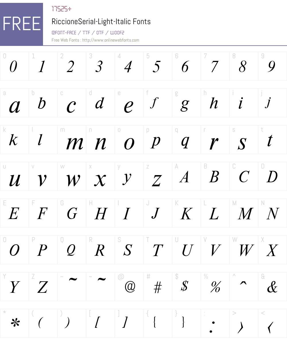 RiccioneSerial-Light Font Screenshots