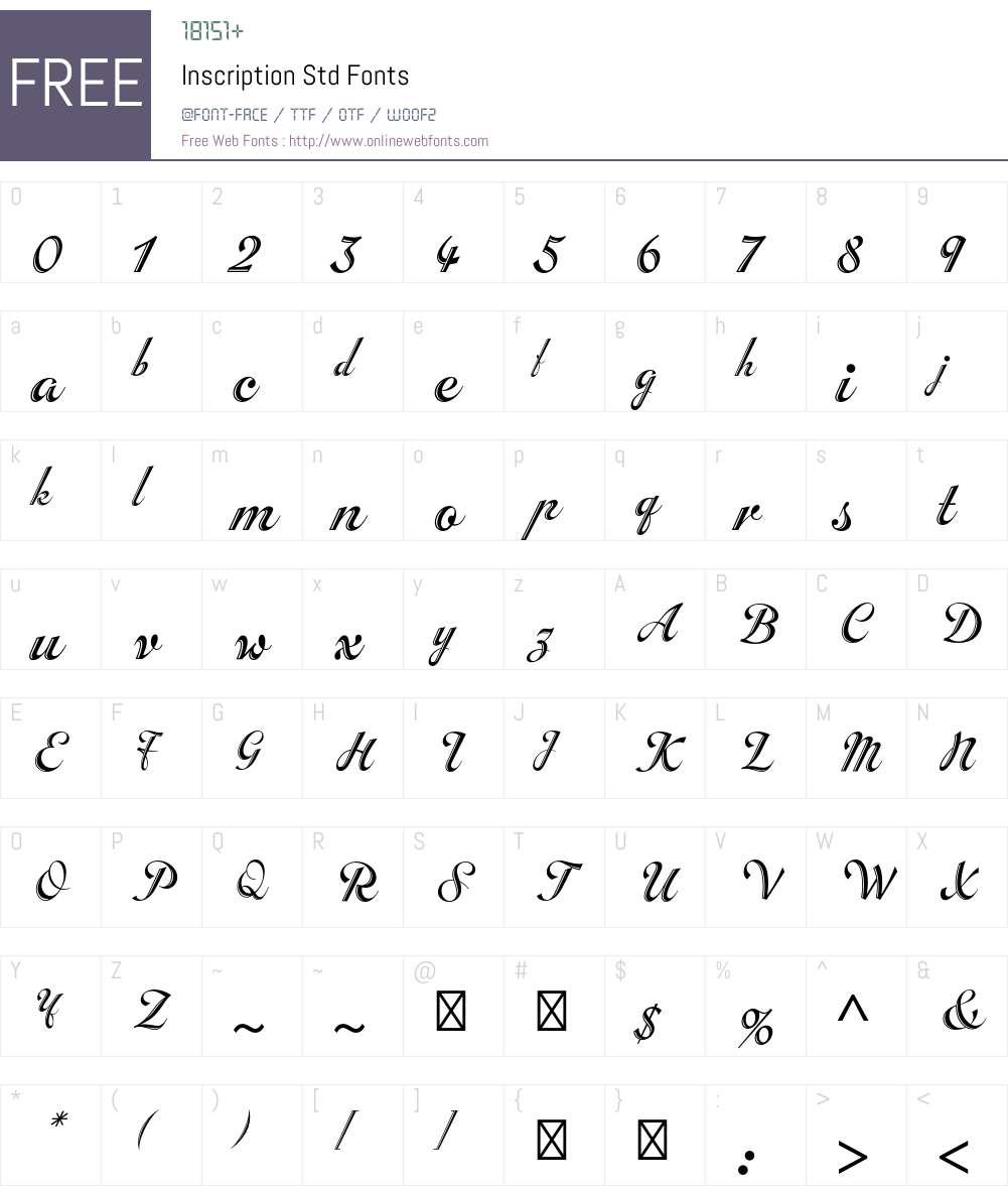 Inscription Std Font Screenshots