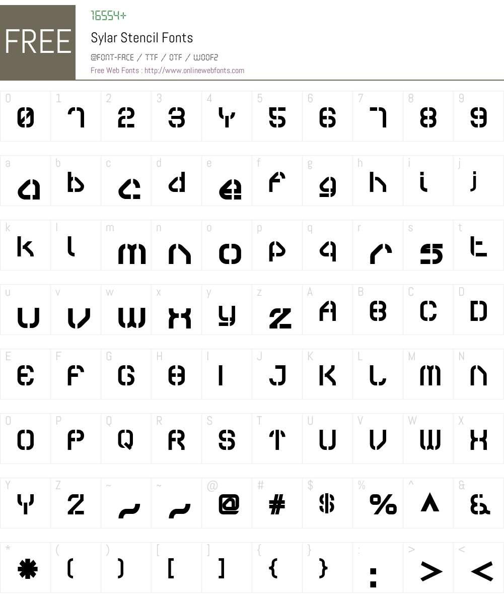 Sylar Stencil Font Screenshots