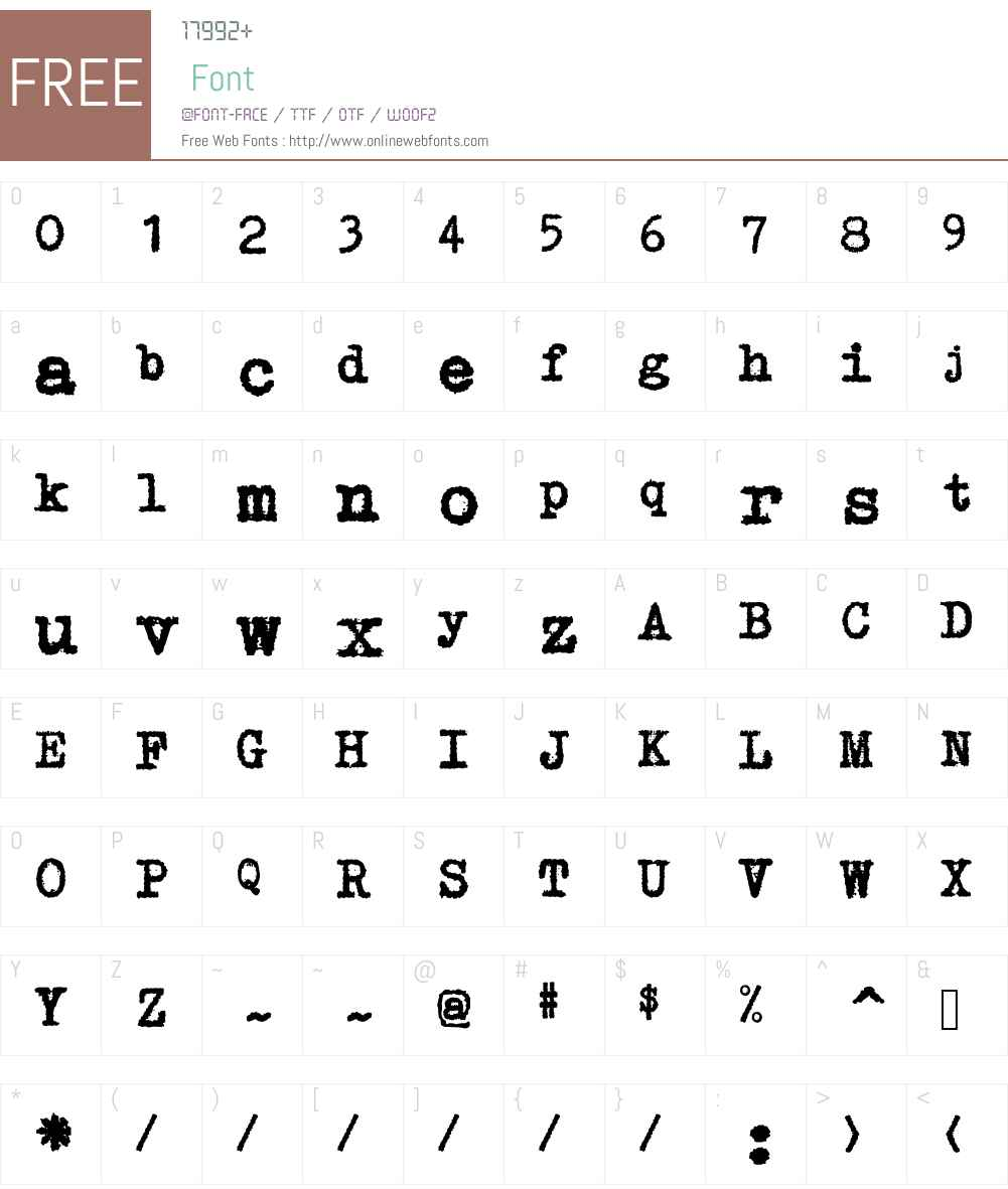 GNUTypewriter Font Screenshots