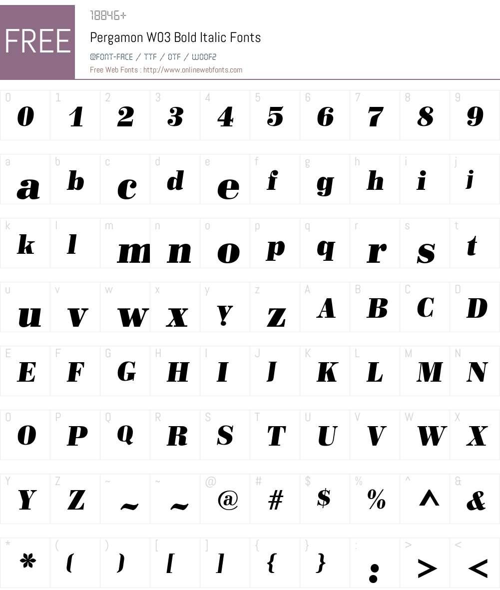 Pergamon Font Screenshots