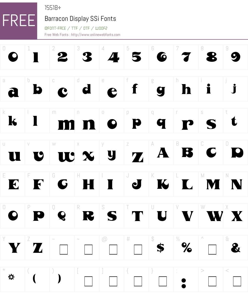 Barracon Display SSi Font Screenshots