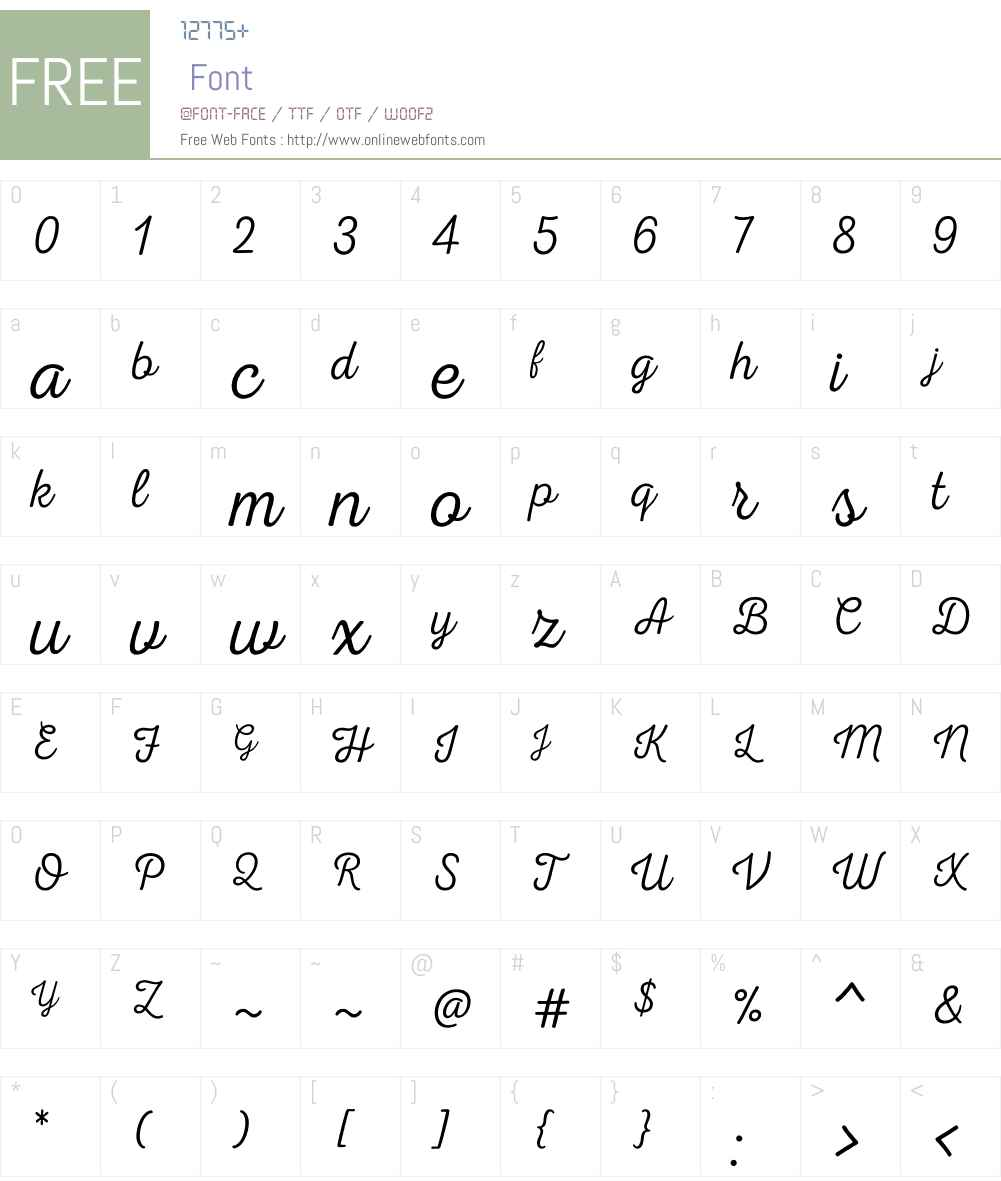 NexaRustScriptTW00-00 Font Screenshots