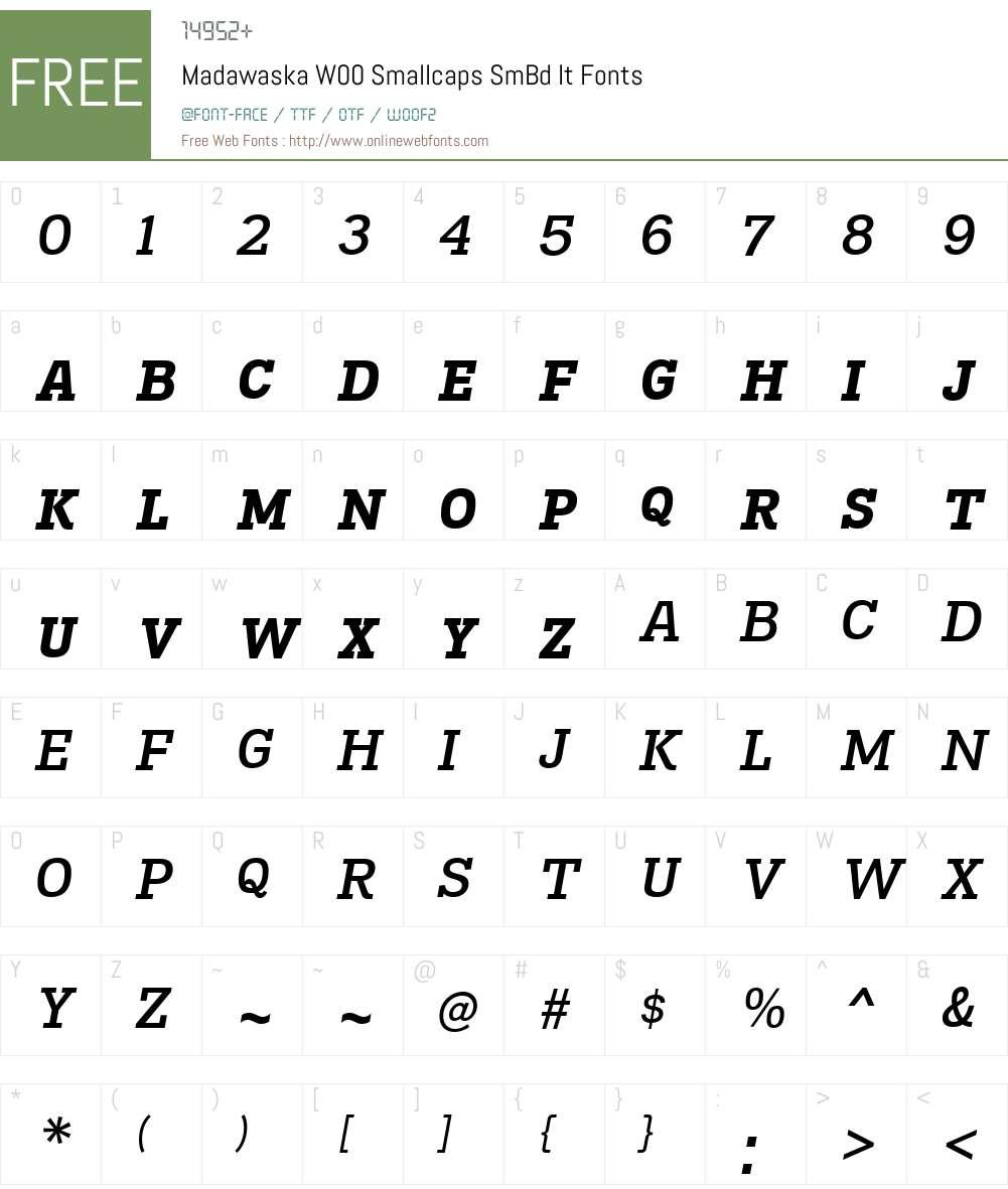 MadawaskaW-SmallcapsSmBdIt Font Screenshots