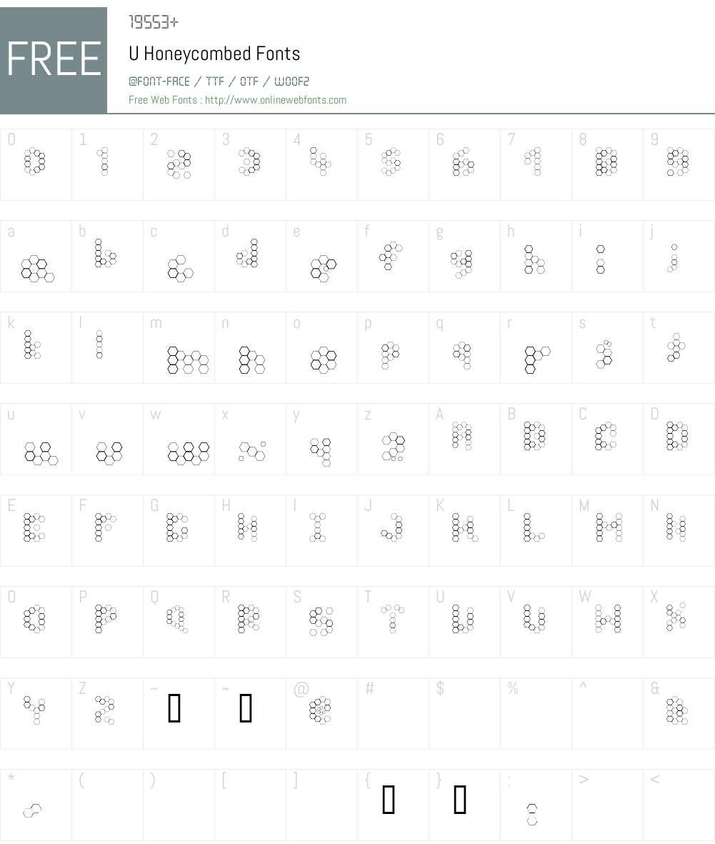 U Honeycombed Font Screenshots