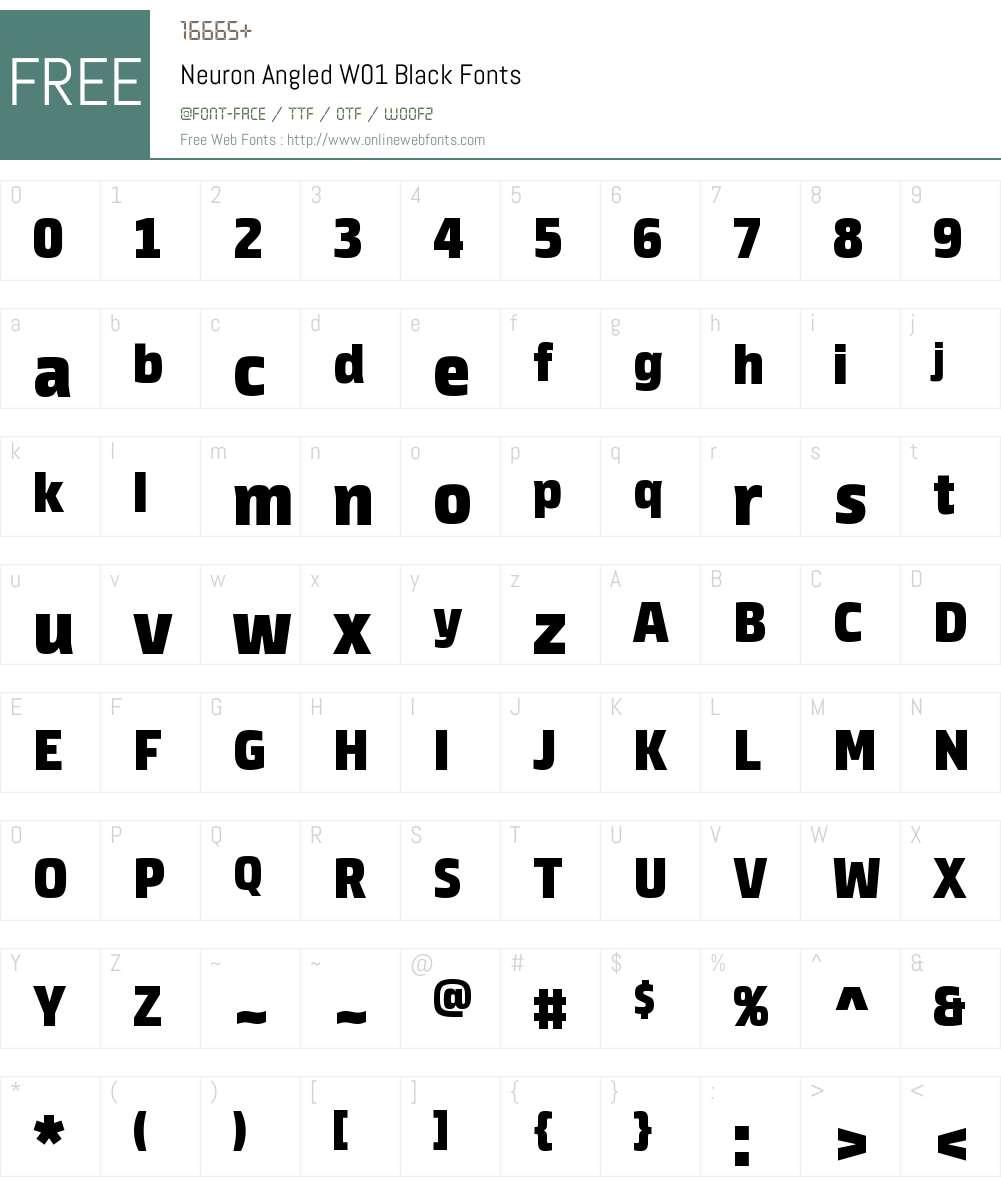 NeuronAngledW01-Black Font Screenshots
