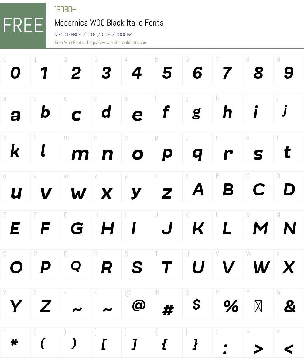ModernicaW00-BlackItalic Font Screenshots