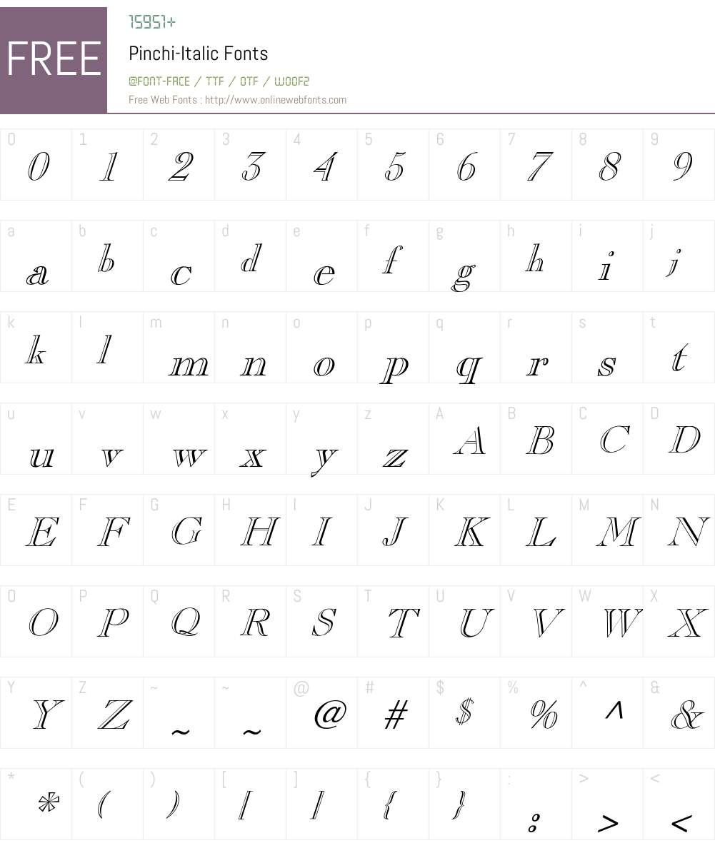 Pinchi-Italic Font Screenshots