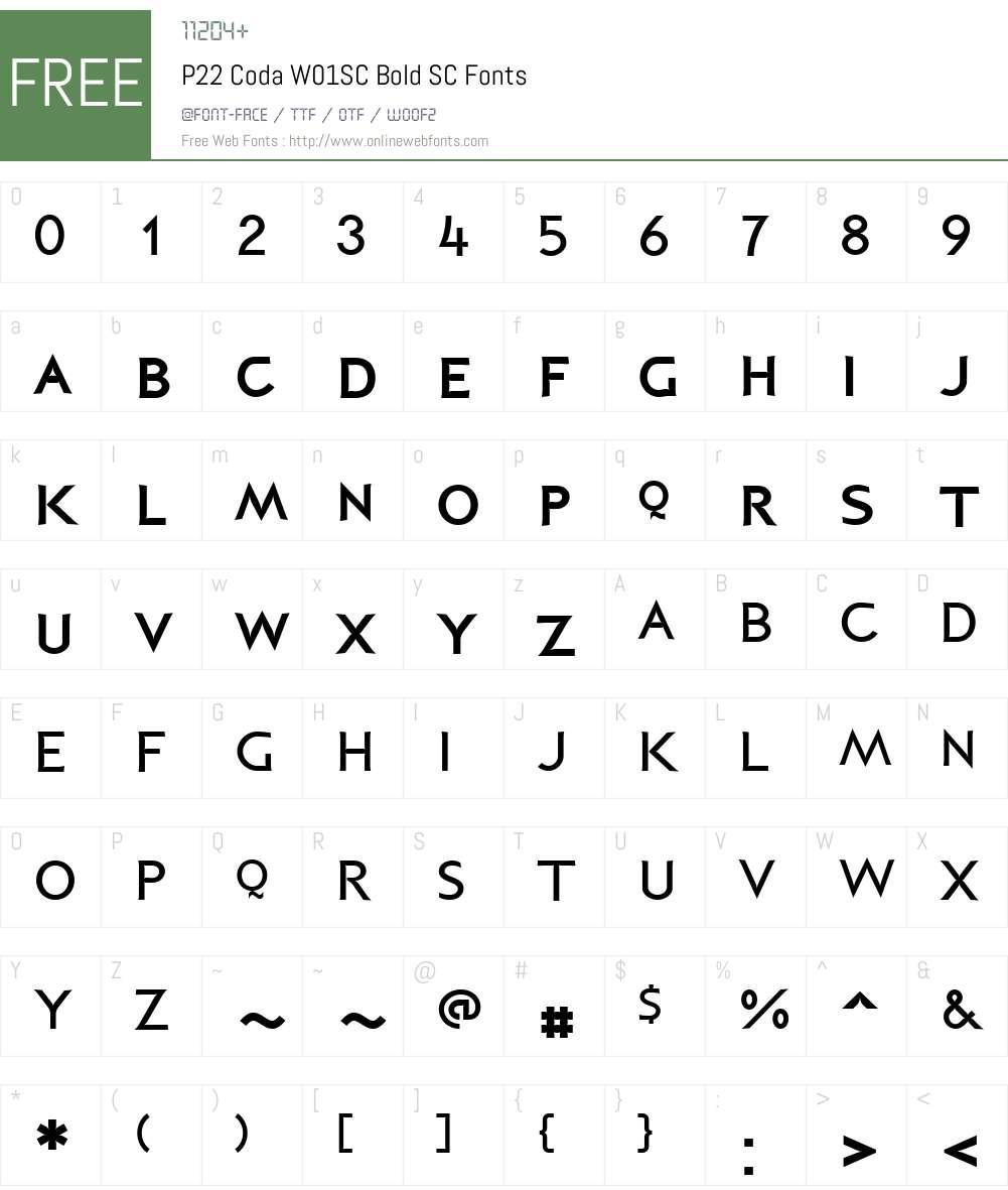 P22CodaW01SC-BoldSC Font Screenshots