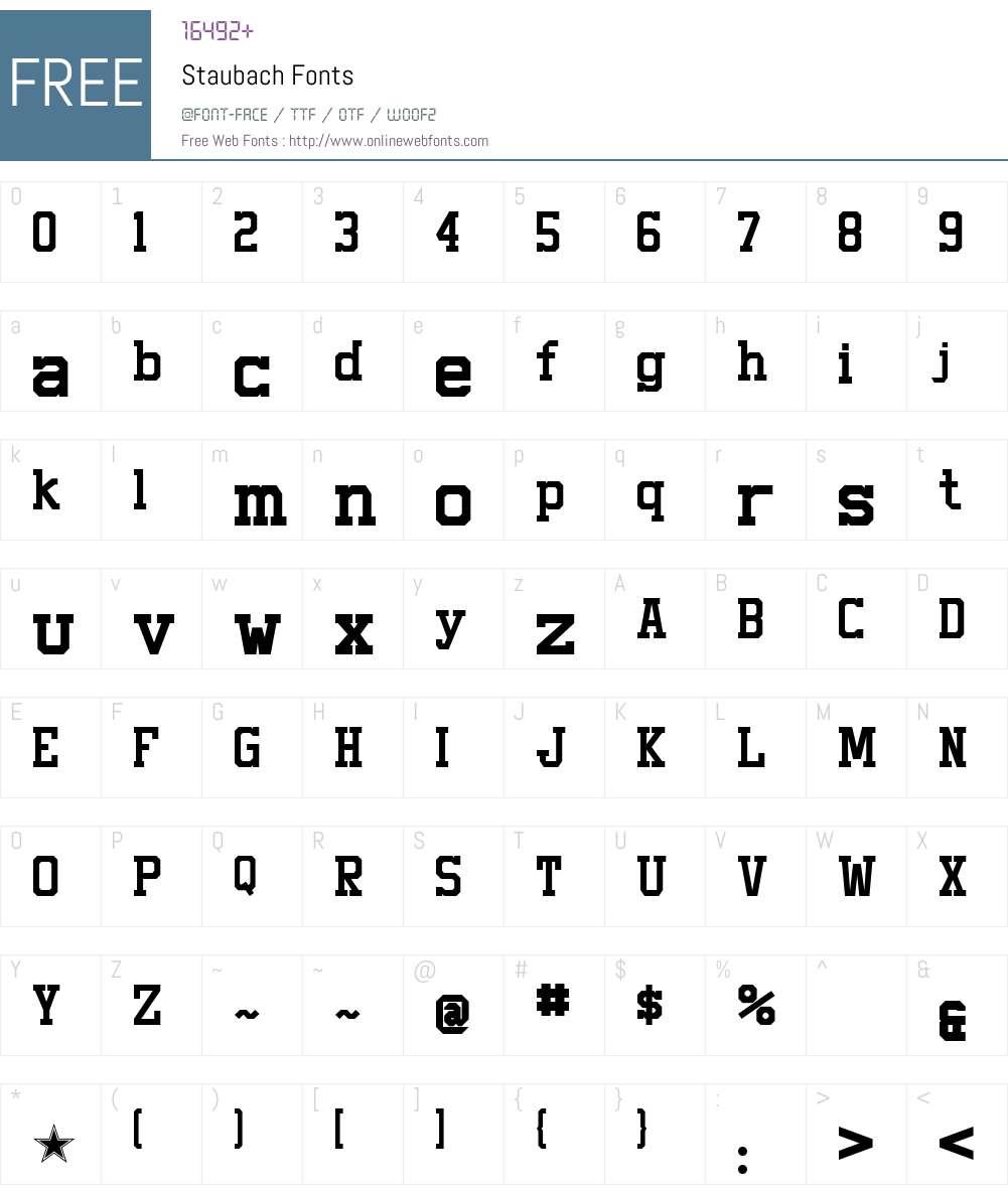 Staubach Font Screenshots