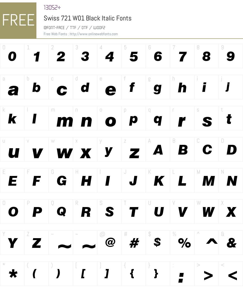 Swiss721W01-BlackItalic Font Screenshots
