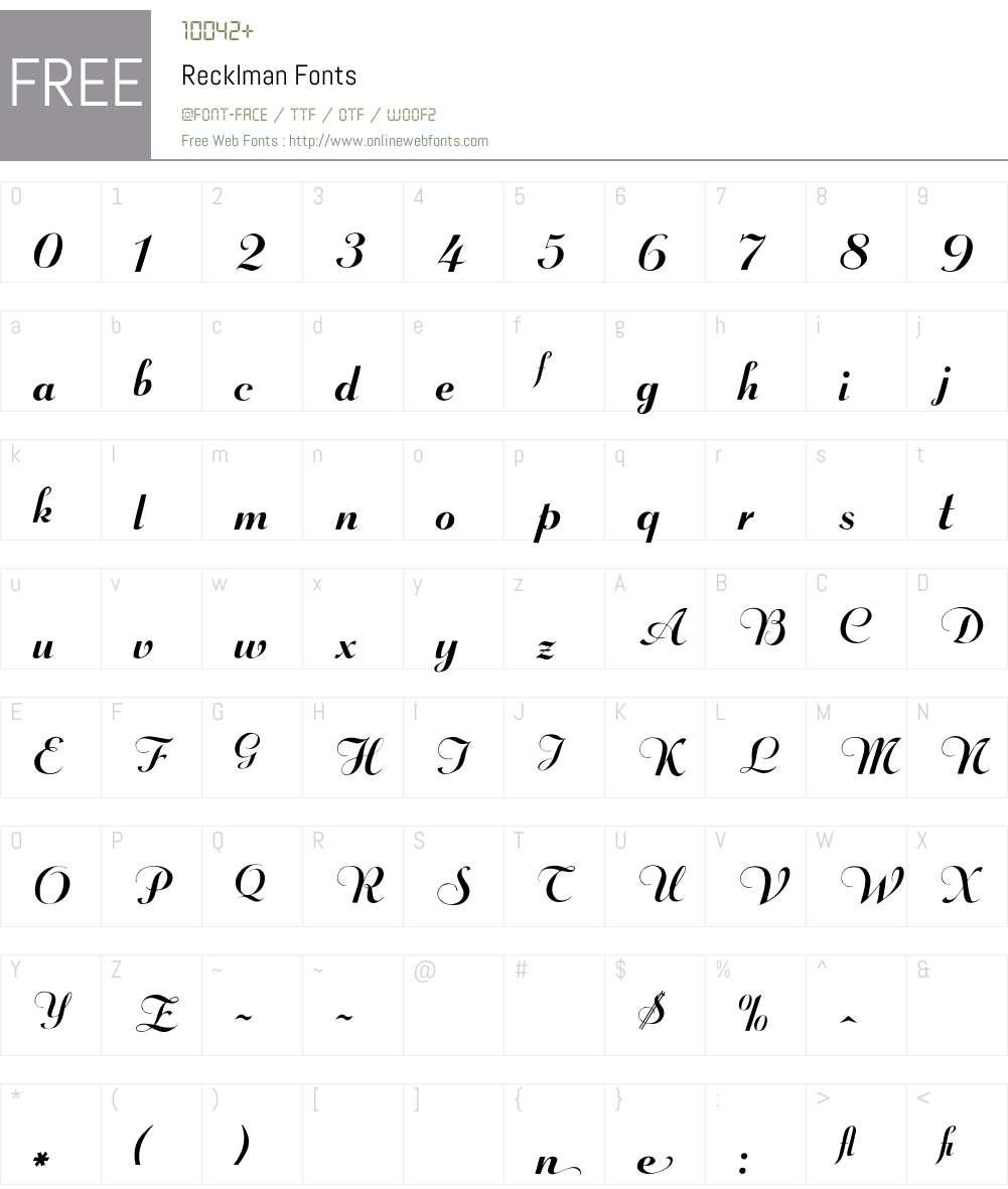 Recklman Font Screenshots