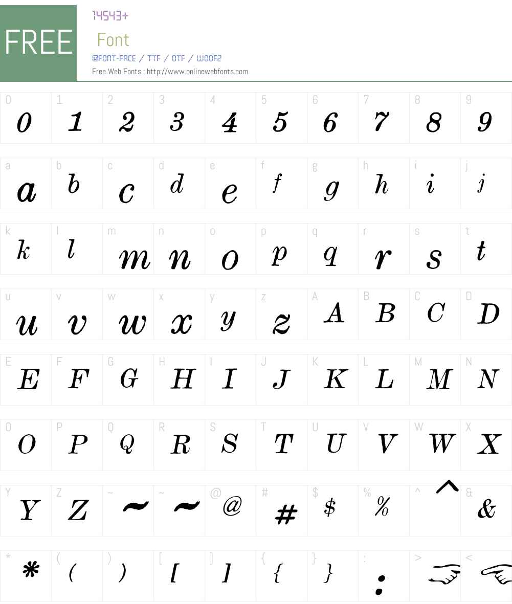 OldTimesAmericanW00-Italic Font Screenshots