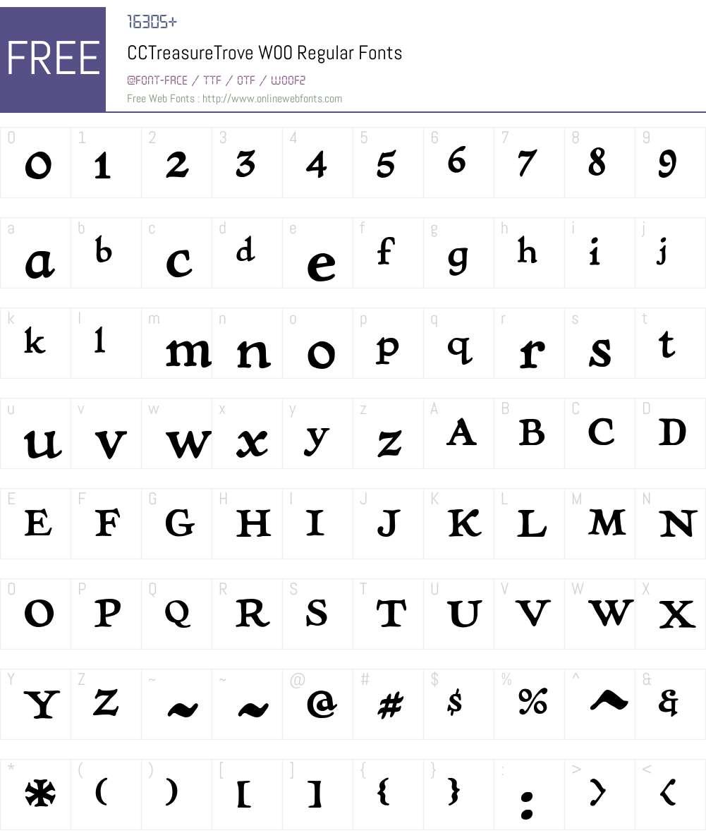 CCTreasureTroveW00-Regular Font Screenshots