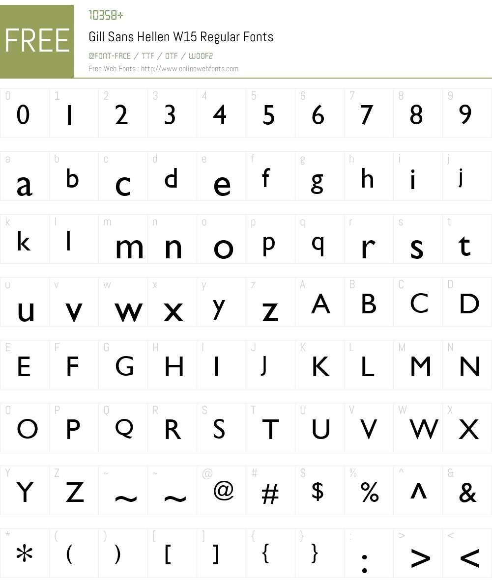 GillSansHellenW15-Regular Font Screenshots