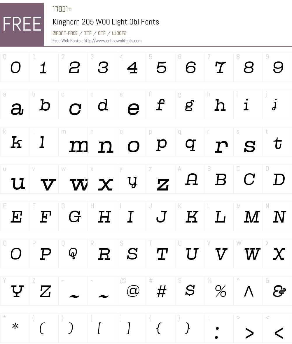 Kinghorn205W00-LightObl Font Screenshots