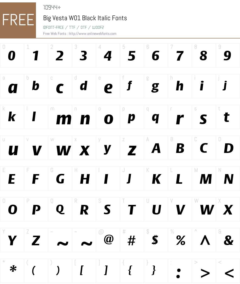 BigVestaW01-BlackItalic Font Screenshots