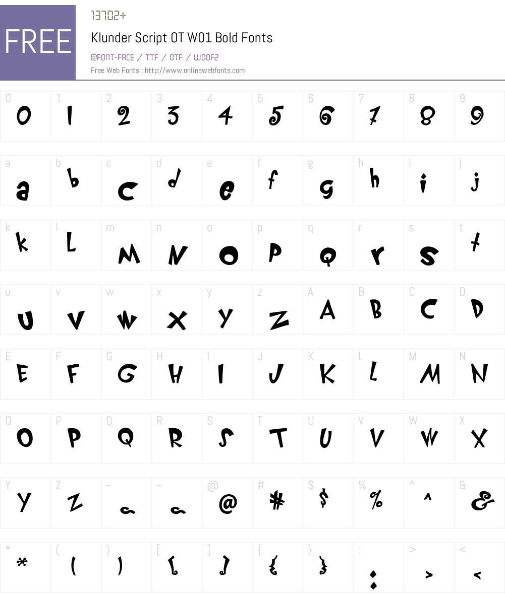 FF Klunder Script Font Screenshots