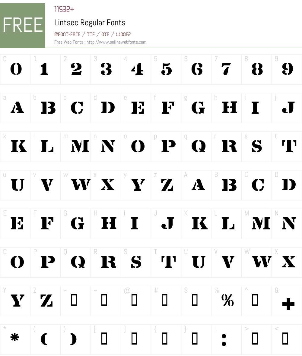 Lintsec Font Screenshots