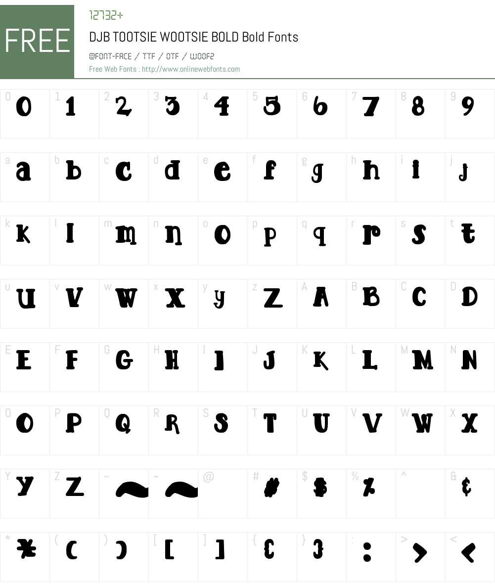 DJB TOOTSIE WOOTSIE BOLD Font Screenshots