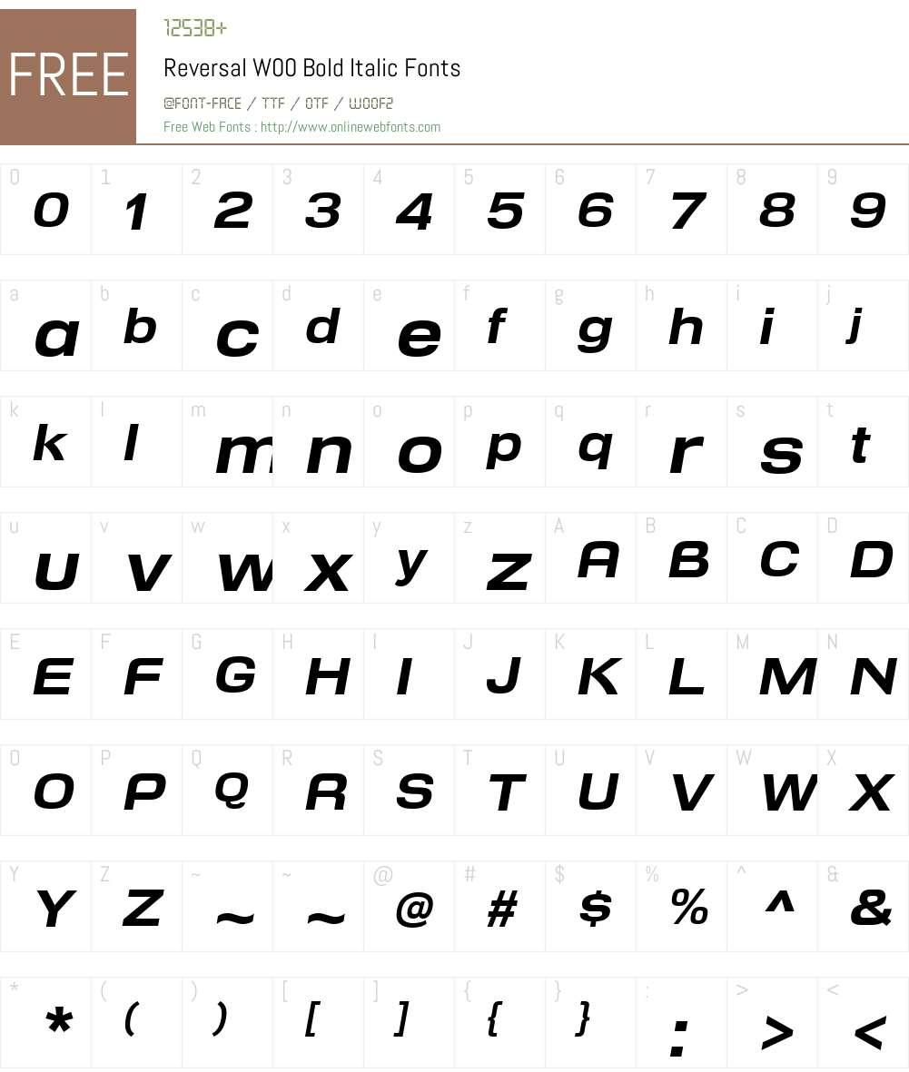 ReversalW00-BoldItalic Font Screenshots