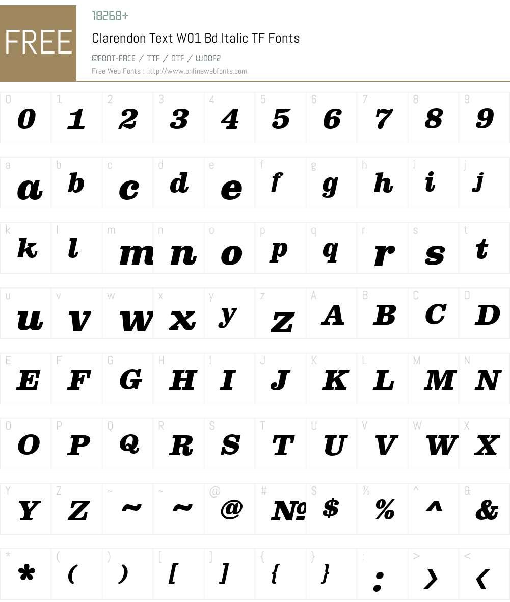 ClarendonTextW01-BdItalicTF Font Screenshots