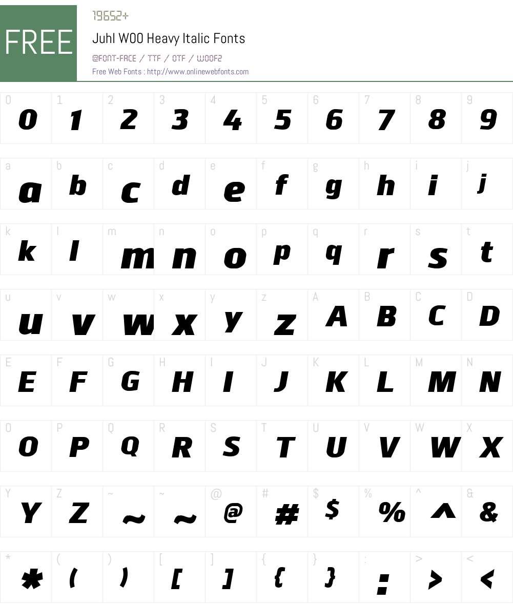 JuhlW00-HeavyItalic Font Screenshots