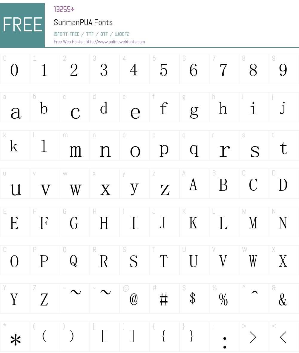 SunmanPUA Font Screenshots