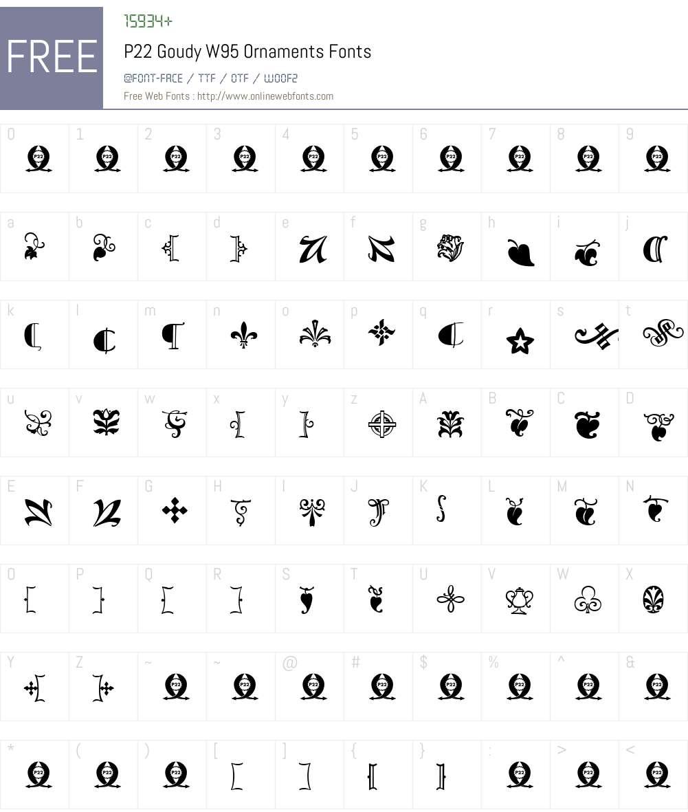 P22GoudyW95-Ornaments Font Screenshots