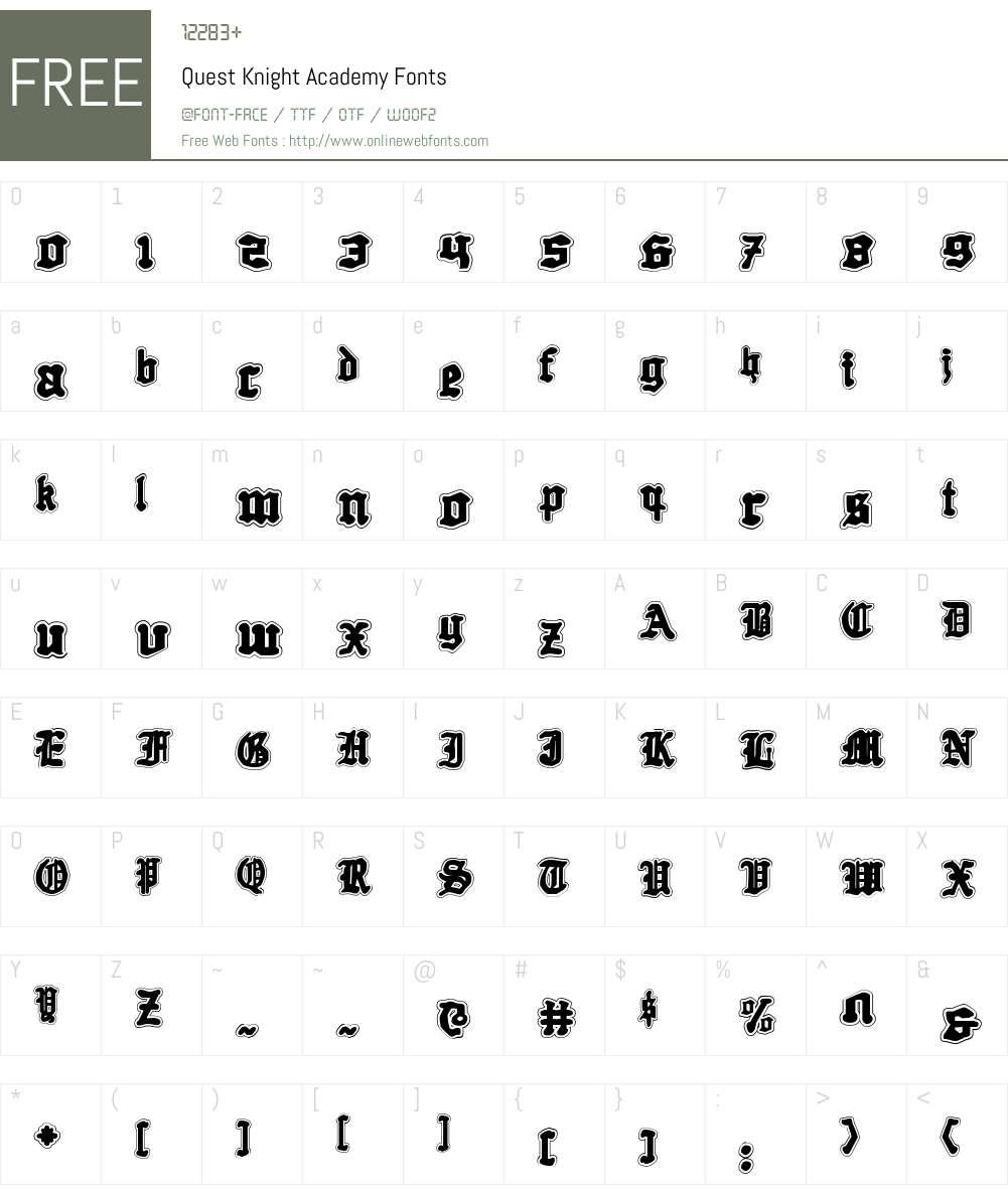 Quest Knight Academy Font Screenshots
