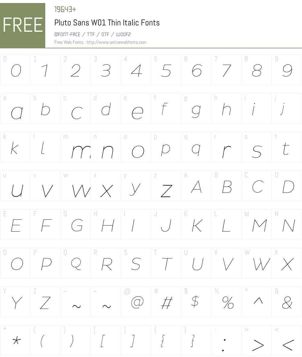 PlutoSansW01-ThinItalic Font Screenshots