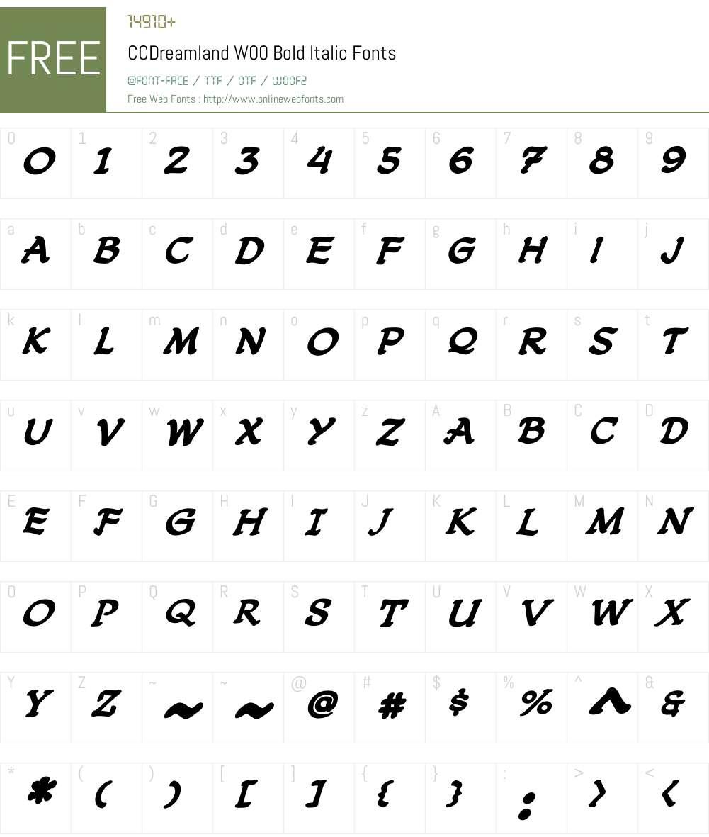CCDreamlandW00-BoldItalic Font Screenshots