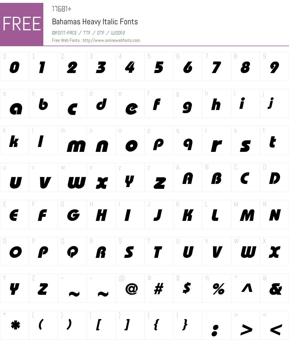 Bahamas Heavy Italic Font Screenshots