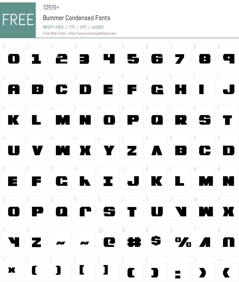 Bummer Condensed Font Screenshots