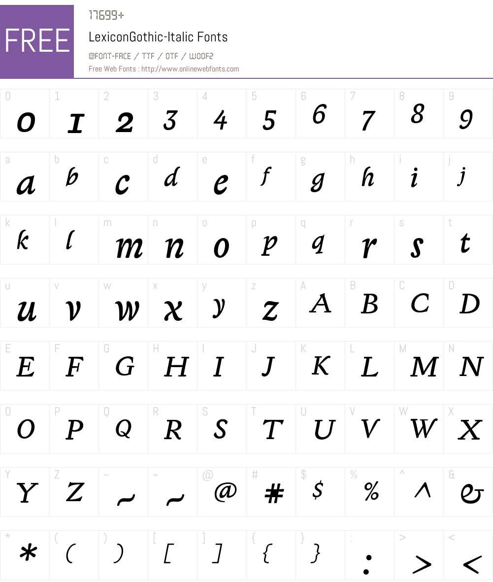 LexiconGothic Font Screenshots